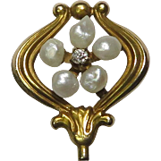 Antique Art Nouveau 14K Gold Seed Pearl & Diamond Floral Stick Pin