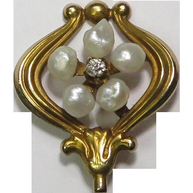 Antique Art Nouveau 14K Gold Seed Pearl & Diamond Floral Stick Pin