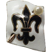 Antique Edwardian 14K Gold Enamel Fleur De Lis Stick Pin