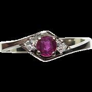 Vintage Retro 14K White Gold Natural Ruby & Diamond Ring