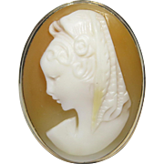 Vintage 10K Gold Lady with Mantilla Large Shell Cameo Ring