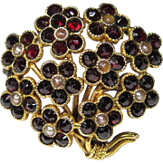 Antique Victorian 14K Gold Rose-Cut Garnet & Seed Pearl Flower Bouquet Brooch