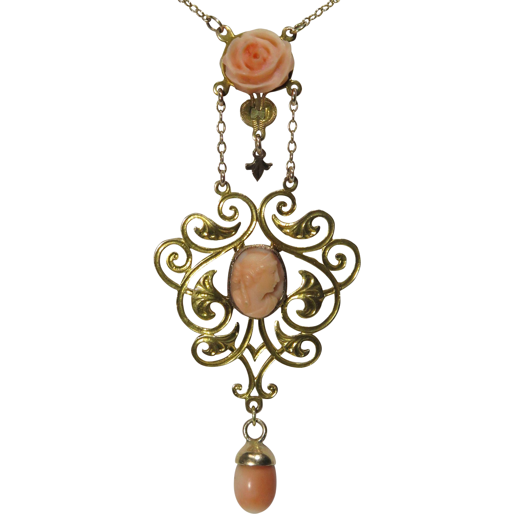 Antique Arts & Crafts Era 14K Gold Coral Cameo Lavaliere Pendant Necklace