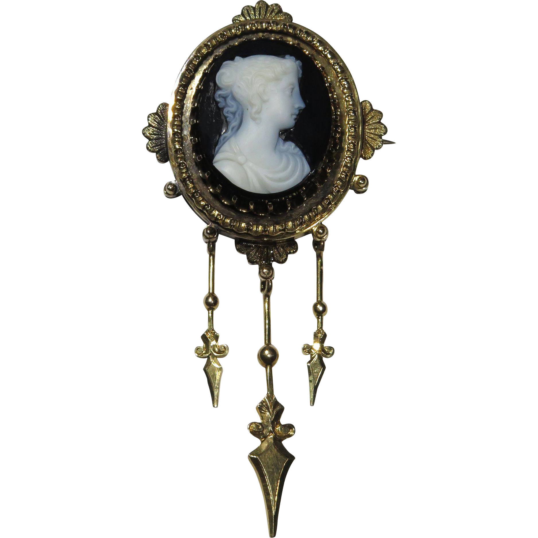 Antique Victorian 14K Gold Onyx Agate Cameo Brooch w/Dangles