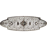Antique Art Deco 10K White Gold Diamond Filigree Brooch