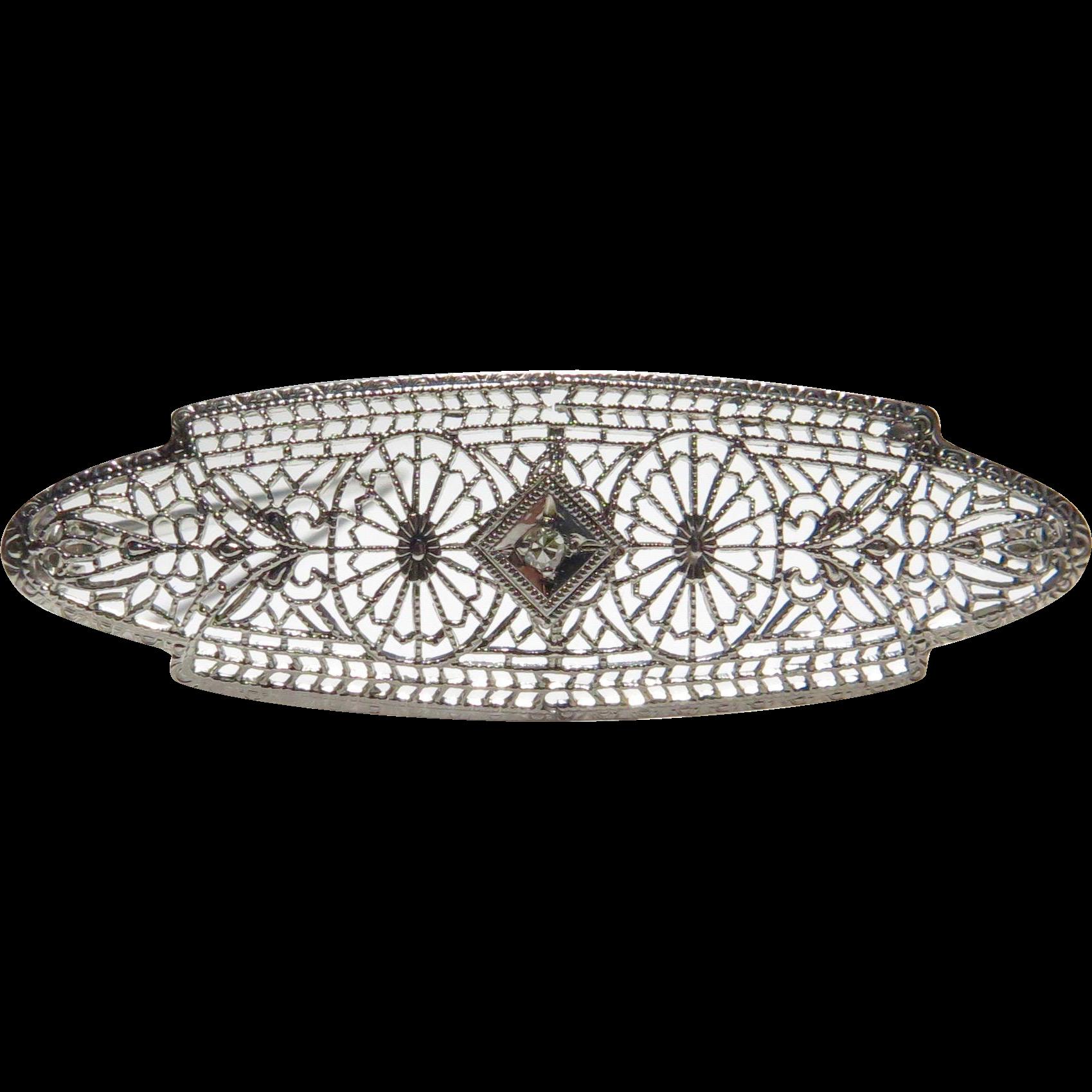 Antique Art Deco 10K White Gold Diamond Filigree Brooch