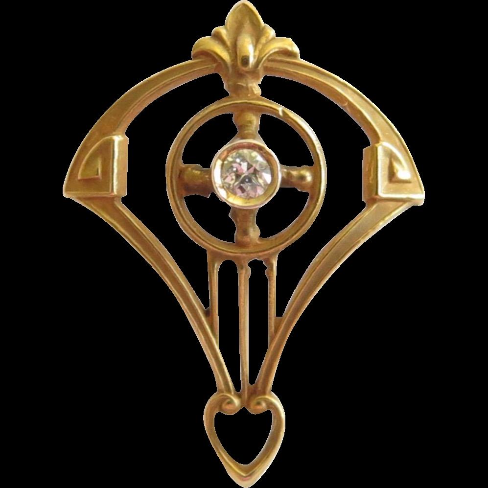 Antique Edwardian 14K Gold Alling & Co. Diamond Stick Pin