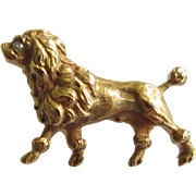 Antique Edwardian 14K Gold Diamond Poodle Dog Stick Pin