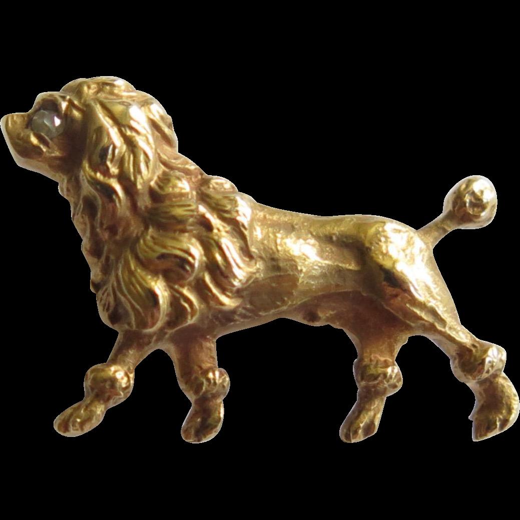 Antique Edwardian 14K Gold Diamond Poodle Dog Stick Pin