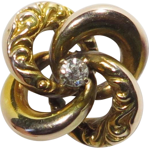 Antique Victorian 10K Gold Diamond Lover's Love Knot Stick Pin