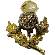 Antique Victorian 9CT Gold Quartz Scottish Thistle Flower Stick Pin