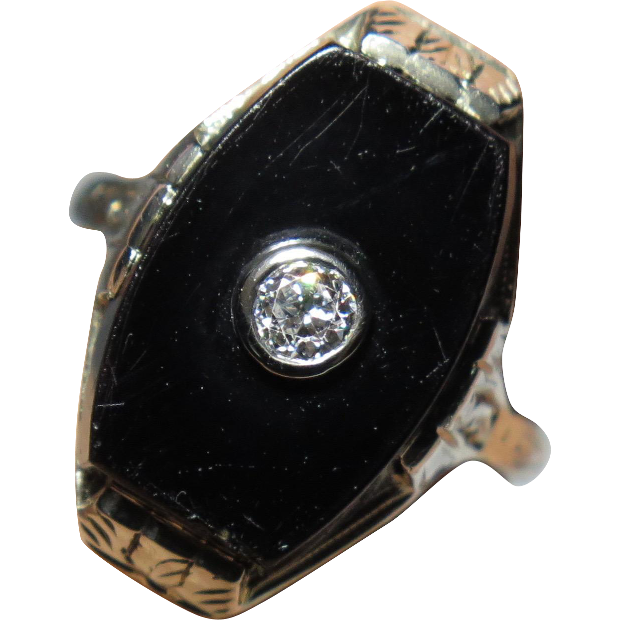 Antique Art Deco 18K White Gold Onyx & 0.17 Carat Diamond Ring