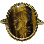 Antique Edwardian 14K Gold Tiger Eye Intaglio Cameo Soldier Ring