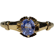 Antique Victorian 14K Gold Sapphire Solitaire Ring