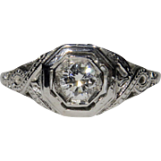 Antique Art Deco 18K White Gold Filigree 0.25 Carat Diamond Solitaire Engagement Ring