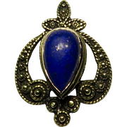 Antique Edwardian 14K Gold Lapis Lazuli Stick Pin