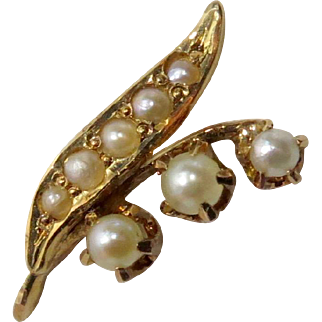 Antique Victorian 14K Gold Seed Pearl Lily of the Valley Stick Pin