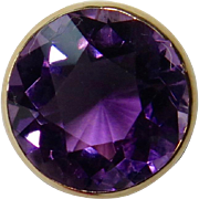 Antique Edwardian 10K Gold 5+ Carat Amethyst Solitaire Stick Pin