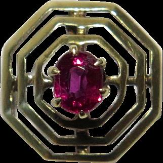 Antique Edwardian 14K Gold Ruby Bullseye Bull's Eye Stick Pin