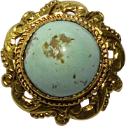 Antique Victorian 14K Gold Turquoise Cabochon Stick Pin
