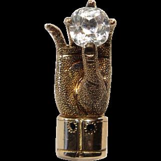Antique Victorian 9CT Hand Holding Gemstone Stick Pin
