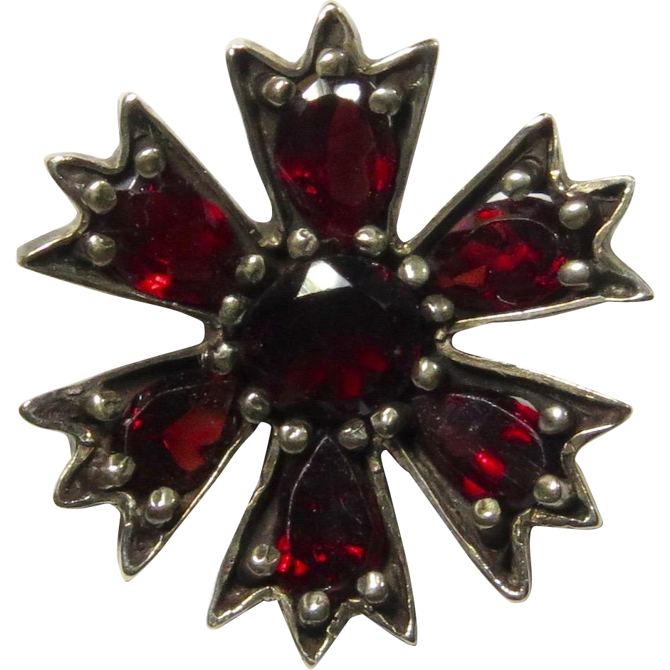 Antique Victorian Gilt 800 Silver Bohemian Garnet Flower Stick Pin