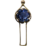 Antique Edwardian 10K Gold Sapphire Stick Pin