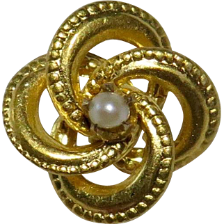 Antique Edwardian 14K Lover's Love Knot Seed Pearl Stick Pin