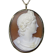 Antique Victorian 14K Gold Shell Cameo Roman Male God Necklace Pendant