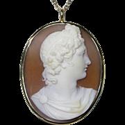 Antique Victorian 14K Gold Shell Cameo Roman Male God Necklace Pendant