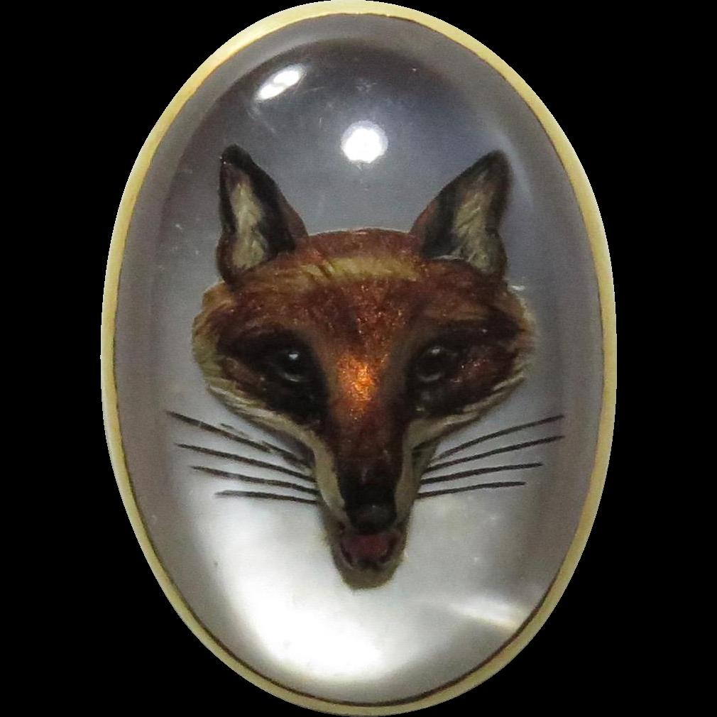 Antique Edwardian 14K Gold Essex Crystal Fox Hunter's Stick Pin