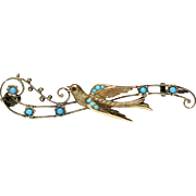 Antique Victorian 9CT Gold Turquoise Swallow Bird Brooch