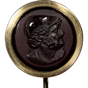Antique French 18K Gold Hardstone/Hard Stone Hercules Soldier Cameo Stick Pin