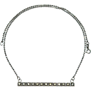 Art Deco Sterling Silver Brilliants Bar Brooch Pendant Necklace Conversion Piece