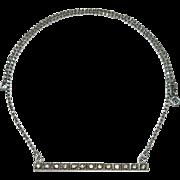 Art Deco Sterling Silver Brilliants Bar Brooch Pendant Necklace Conversion Piece