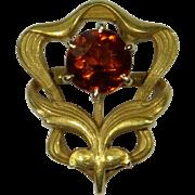 Antique Art Nouveau 14K Citrine Floral Motif Stick Pin