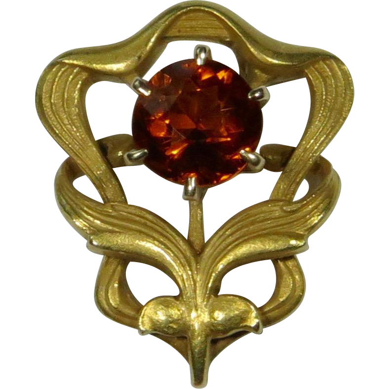 Antique Art Nouveau 14K Citrine Floral Motif Stick Pin