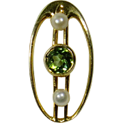 Antique Edwardian 14K Gold Peridot & Seed Pearl Stick Pin