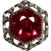 Vintage Art Deco 14K White Gold Ruby Solitaire Stick Pin