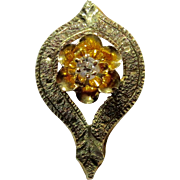 Antique Edwardian Art Deco 14K Gold Diamond Stick Pin