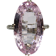 Antique Art Deco 14K White Gold Kunzite Solitaire Dinner Ring