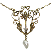 Antique Edwardian 14K Gold Seed Pearl & Diamond Lavaliere Pendant Necklace