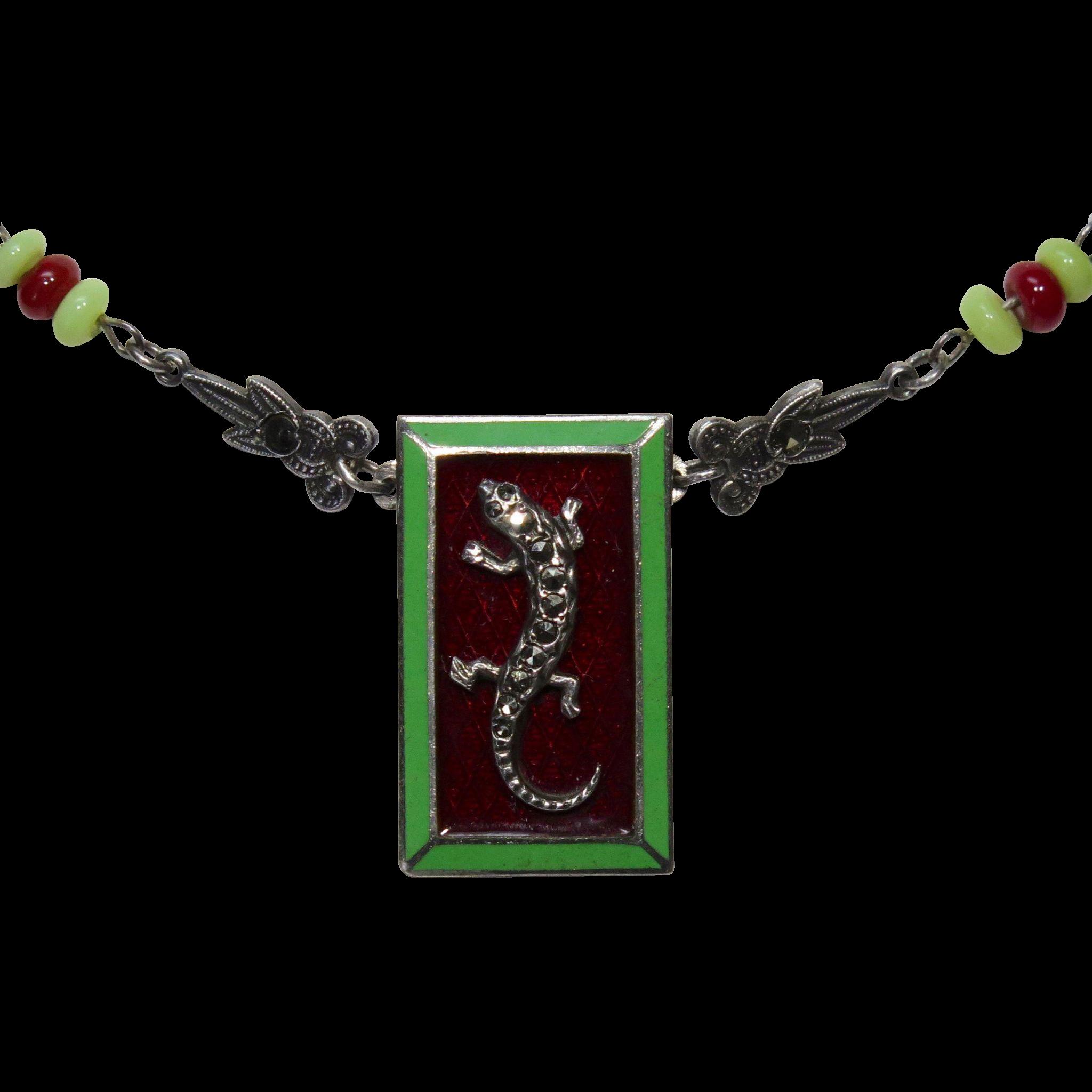 Art Deco Sterling Silver Enamel & Marcasite Gecko Lizard Pendant Necklace Conversion Piece