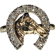 Upcycled Art Deco 14K 10K White & Yellow Gold Diamond Equestrian Stick Pin Conversion Ring