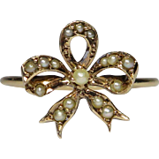 Victorian 10K Gold Seed Pearl Bow Ring Conversion Piece