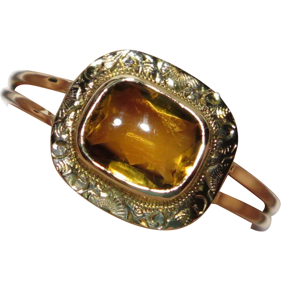 Edwardian 10K Gold Citrine Ring Conversion Piece