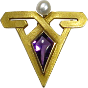 Antique Art Deco 14K Gold Krementz Amethyst Seed Pearl Stick Pin