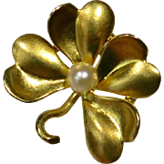 Antique Victorian 14K Gold Seed Pearl 4 Leaf Clover Stick Pin