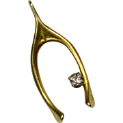 Antique Edwardian 14K Gold Diamond Wishbone Stick Pin