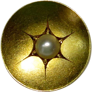 Antique Victorian 15CT 12CT Gold Seed Pearl Button Stick Pin